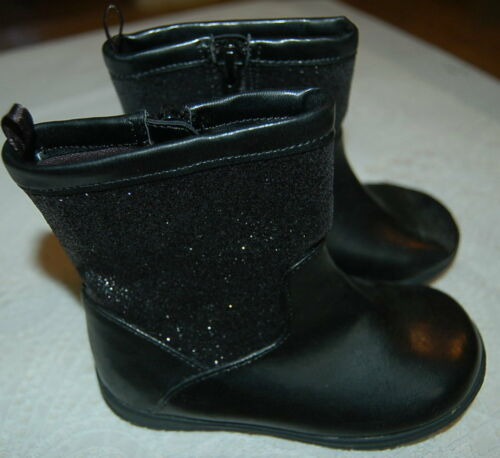 TODDLER GIRLS Black GLITTER Rubber FANCY Boots 2 4 5 6 Side Zippered