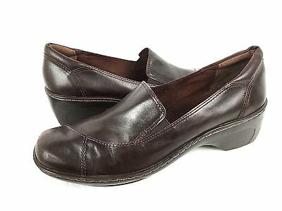 CLARKS Loafers 8.5 Brown Leather Slip On Shoes Women's