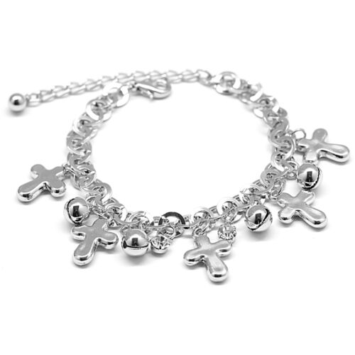 Round Chain Cross Bells Charm Clear Rhinestone Bracelet
