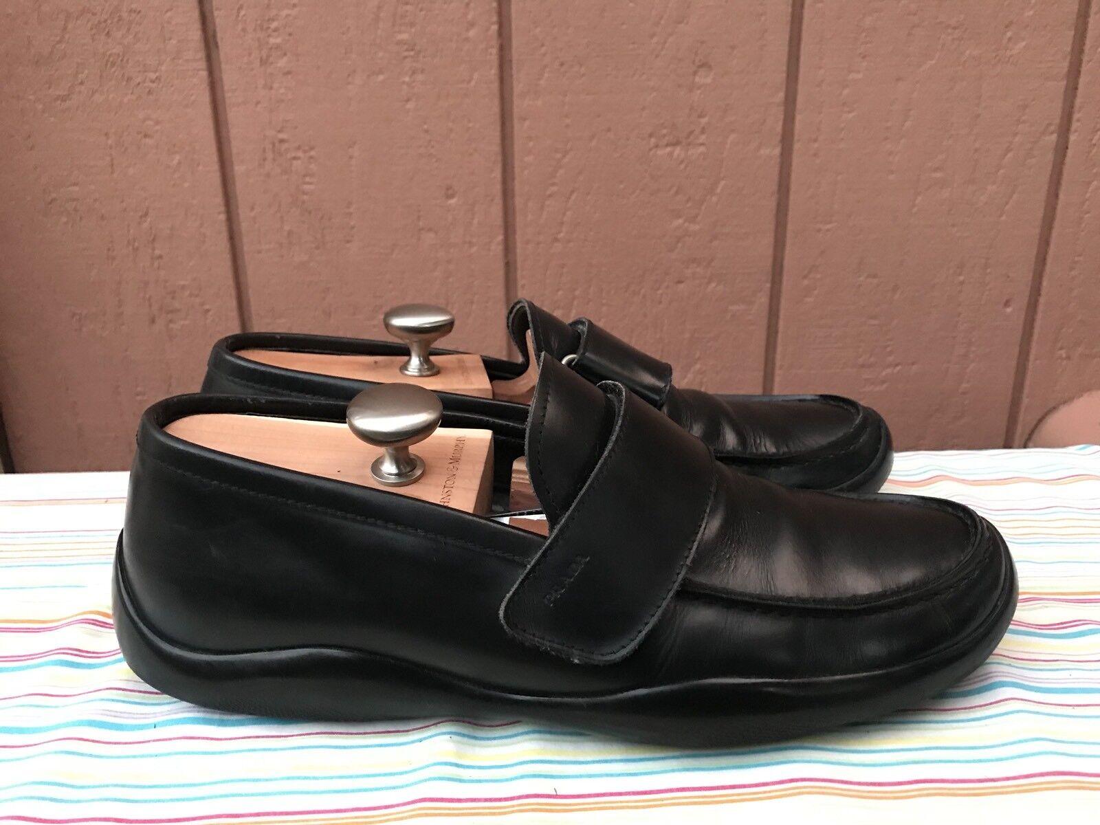 Usado en excelente estado Prada Mocasín Negro Correa De Cuero Hombre Talla 10 de EE. UU. hecho en Italia