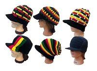 Jamaica Reggae Rasta Style Delux Visor Beanie Kufi Hat Cap