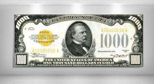 US 1934 $1,000 GOLD CERTIFICATE NOTE GROVER CLEVELAND GIANT CANVAS LARGE