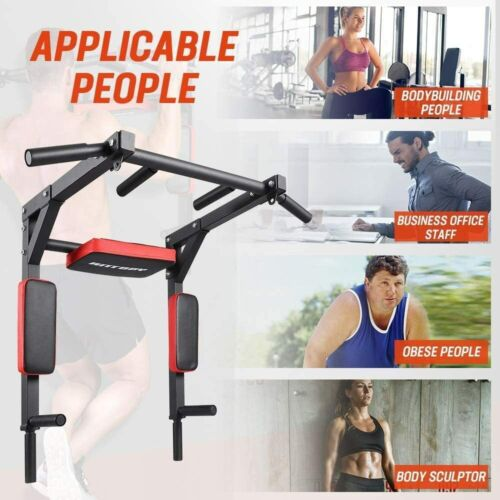 Pull Up Bar Wall Mounted Chin Up Dip Stand Power Tower Home Gym Machine Training