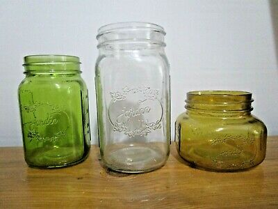 Decorative Jordin Canning Jars Set Of 3 Clear Amber And Green Ebay