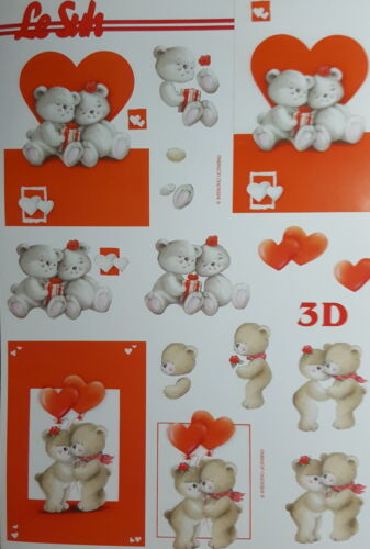 A4 3D Paper Tole Teddy Bear Heart Fishing Valentine Juggling Honey Garden Paint