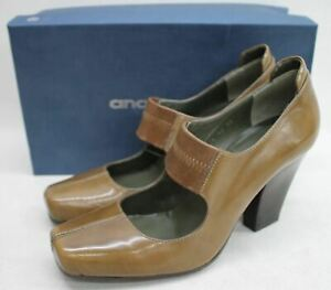 ANA-BONILLA-Ladies-Brown-Leather-Wedge-Heel-Square-Toe-Shoes-Size-UK5-EU38