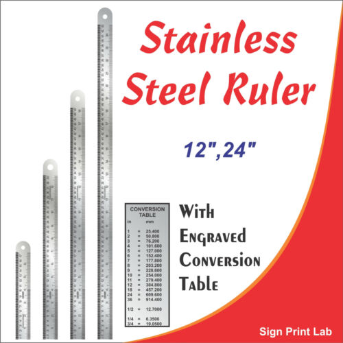 "Hard Stainless Steel Ruler 12/""//24/"" Sonex Engraved Conversion Table pk of 1 /& 2"