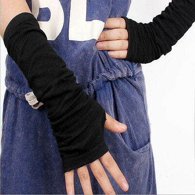 New Fashion Sexy Black Long Knit Arm Leg Fingerless Gloves Warmer For Woman