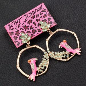 Pink-Enamel-Crystal-Bird-Round-Eardrop-Dangle-Betsey-Johnson-Earrings-Gift