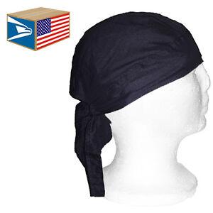 Details about SKULL CAP HAT Solid Black BIKER WRAP DURAG DU DO DOO RAG TIE  BACK LOT 1/3/6/12