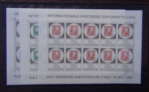 Netherlands 1967 Amphilex 67 Stamp Exhibition Miniature Sheets x 3 MNH