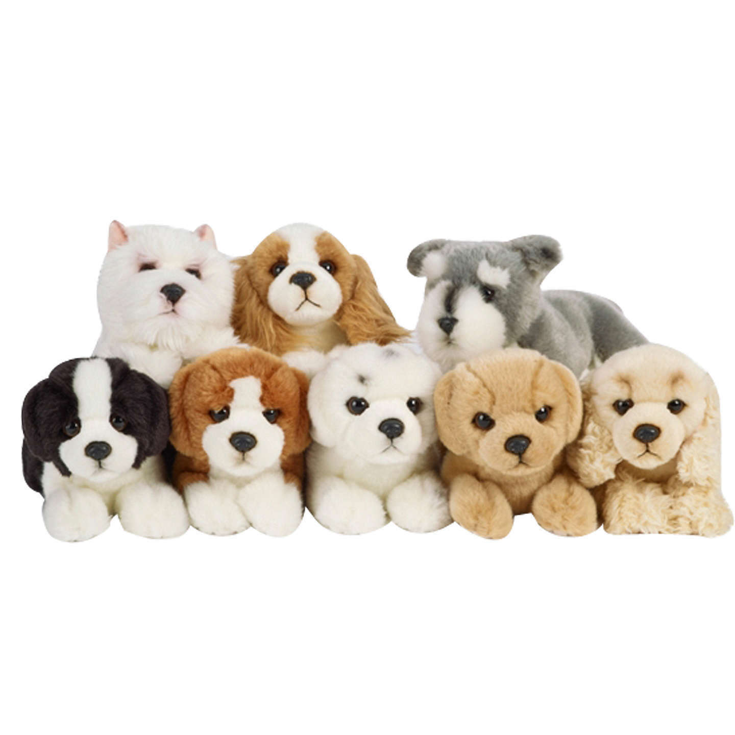 LIVING NATURE PUPPIES -AN152AS PLUSH COLLIE KING CHARLES WESTIE BEAGLE DOGS SOFT