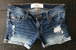 Hollister-Cuffed-Low-Rise-Destroyed-Denim-Medium-Blue-Jean-shorts-size-0