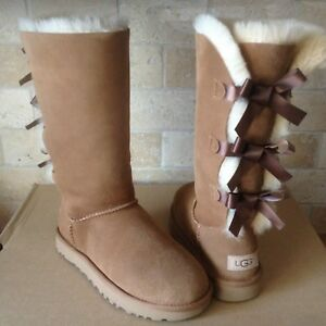 ce4392301a0 Details about UGG TRIPLE TRIPLET BAILEY BOW II CHESTNUT WATER-RESISTANT  TALL BOOT SIZE 5 WOMEN