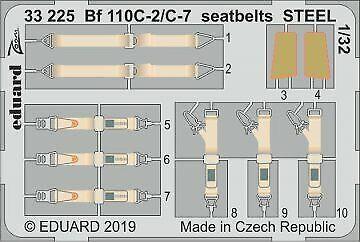 Neu Eduard Accessories 33225-1:32 Bf 110C-2//C-7 seatbelts STEEL for Revell