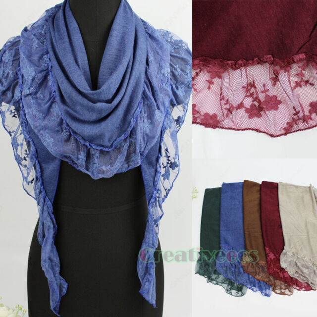 Fashion Women's Floral  Mesh Trim Solid Color Soft Triangle Scarf Shawl Wrap New