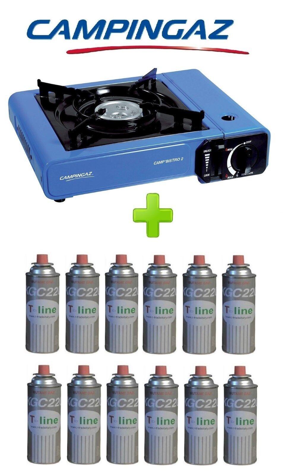 FORNELLO PORTATILE A GAS BISTRO BISTRO BISTRO CAMPINGAZ CON VALIGETTA +  12 CARTUCCIE A GAS 6848bd