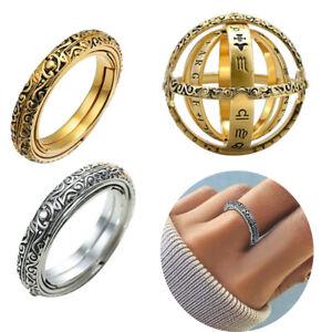 Astronomische-Kugel-Kugelring-kosmischen-Fingerring-Paar-Liebhaber-Schmuck-Ring