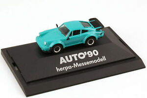 1-87-Porsche-911-turbo-Type-930-turquoise-Exhibition-model-Car-90-herpa