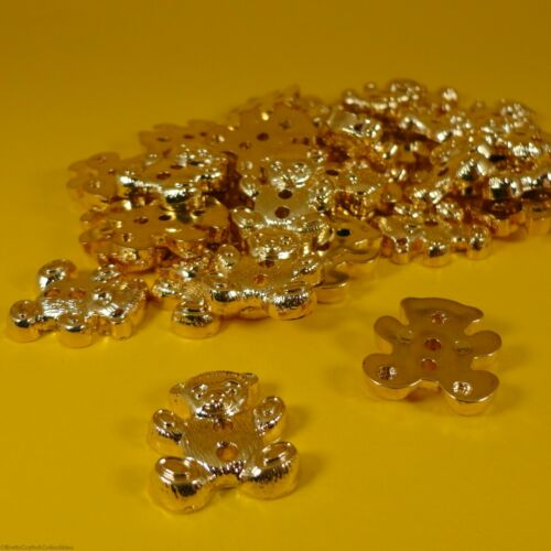 2 Hole Plastic Buttons - Gold Teddy Bear 9,18 or 36 per bag 13mm x 20mm