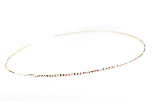 2 × 83cm Long Multi Colour Rhinestone Gold Chain Trim Lobster clasp at one end