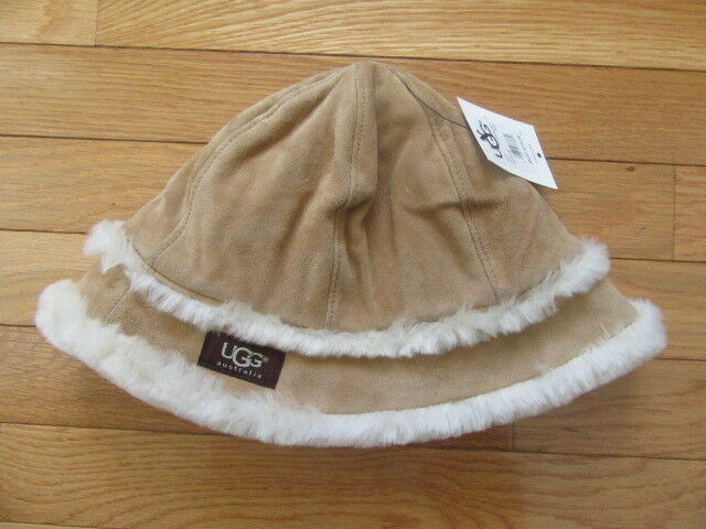 4ea024d48 Details about UGG AUSTRALIA WOMENS LEATHER SHEARLING CHESTNUT BROWN BUCKET  HAT, NWT $145, O/S