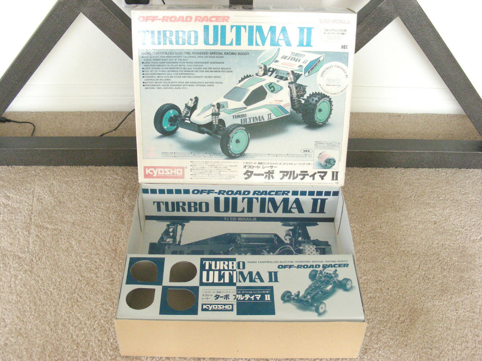 Vintage 1990 Kyosho 1 10 Turbo Ultima Ii Original Kit + Caja Vacía funcionamiento interno
