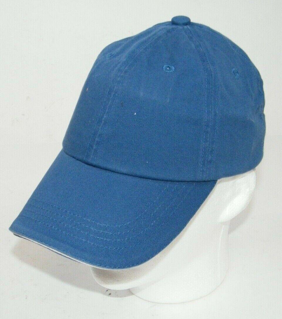 (9) PORT AUTHORITY BLUE WITH WHITE STRIPE CLOSURE C830 SANDWICH BILL CAPS HATS