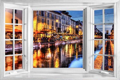 3D Effect Window Bay Venice Street Night Sticker Wall Poster Vinyl GA2-397