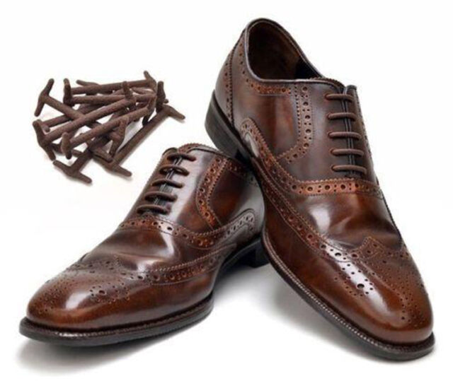 Shoe Laces Formal Brown KoolLace Elastic Silicon Silicone Shoelace Work Shoes