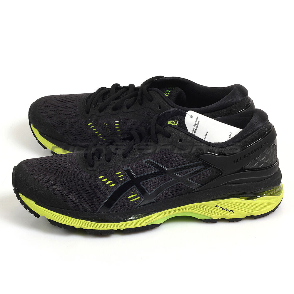 Asics GEL-Kayano 24 Black/Green Gecko/Phantom Lightweight Running T749N-9085