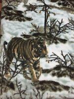 Fleece 60x60 Blanket Throw Quilt Siberian Snow Tiger Winter Animal Pet Comfort