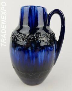 Vintage-1960-70-SCHEURICH-KERAMIK-414-16-Blue-Fat-Lava-Vase-West-German-Pottery