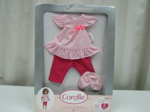 "New Corolle les Cheries Pink pajama /& slippers Set for 13/"" Fashion Doll # W0529"