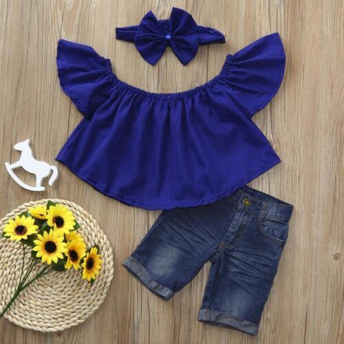 3Pcs Toddler Baby Kids Girls Off shoulder Crop Tops+Denim Jean+Headband Clothes