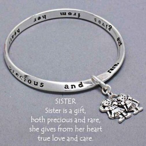 Sister Is A Gift Mobius Bangle 2 Sisters Color Charm Bracelet Prayer Card Ebay
