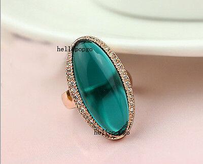 18K Rose Gold GP Clear Swarovski Crystal Green Ring Free Shipping BR500