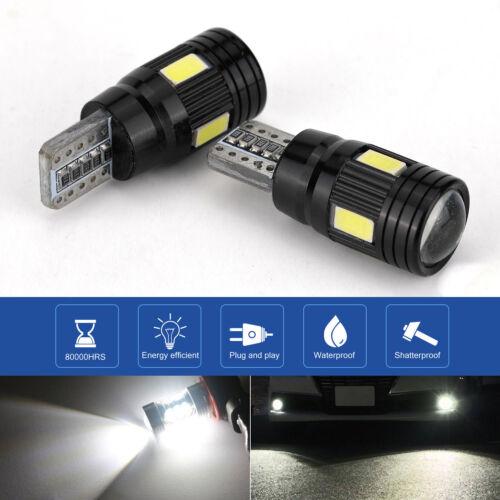 2x T10 LED Daytime High Power Fog Lights Bulb License Plate Light White 6000K