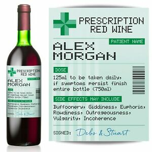 PERSONALISED-Prescription-Red-Wine-label-fun-spoof-Birthday-gift