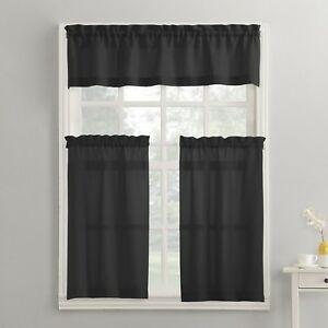 Modern Classic Black 3 Piece Kitchen Curtains Set Valance Amp Tiers Cafe Curtains