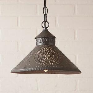 Country new Stockbridge Black punched tin shade hanging ceiling light