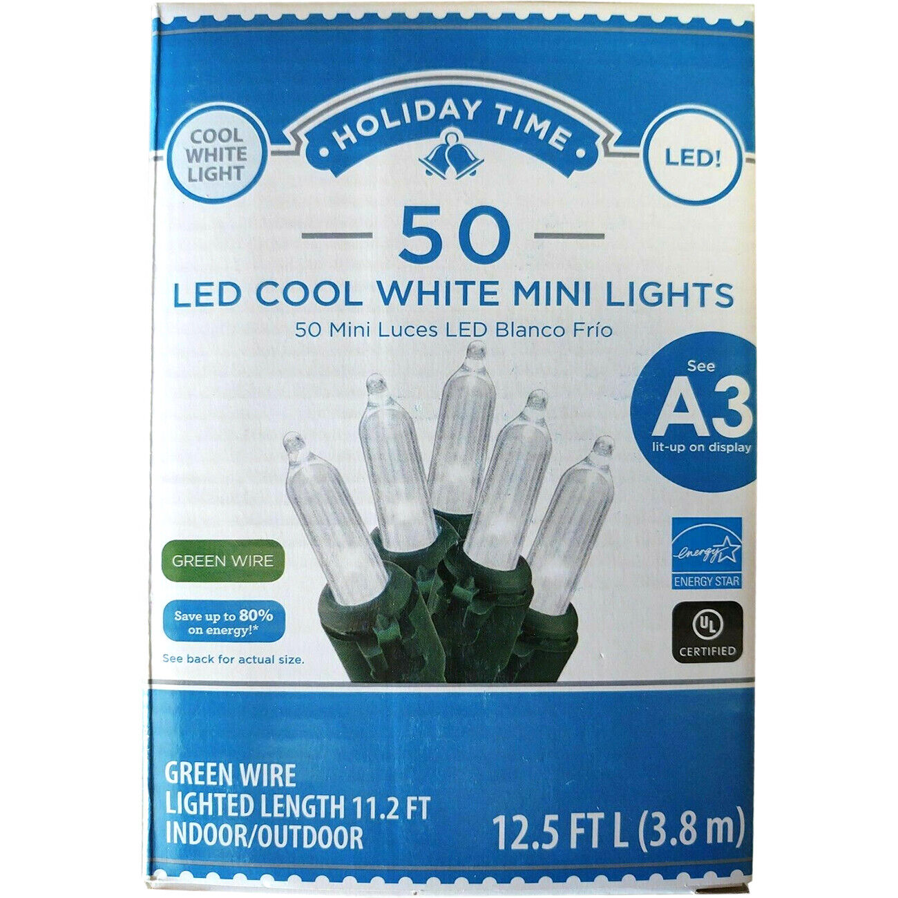 Christmas Wedding, Lot of 12 Holiday Time GE 100 Clear Mini Lights green wire