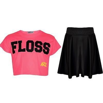 Bambine Floss Fashion Crop Top Elegante Neon Rosa Top & Gonna Skater Set 5-13y-mostra Il Titolo Originale Aspetto Bello