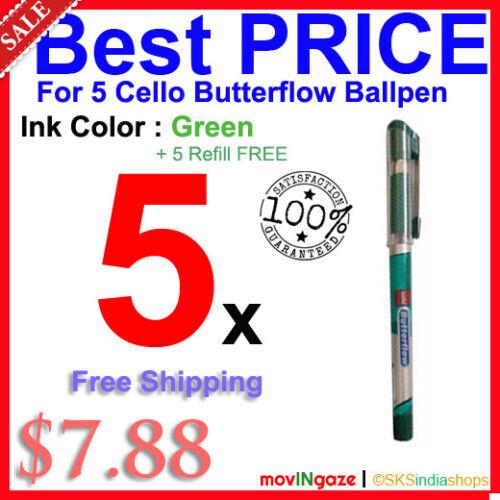 5 Refill ** LIMITED STOCK OFFER ** 5x Cello Butterflow ** GREEN ** Ink Ball Pen