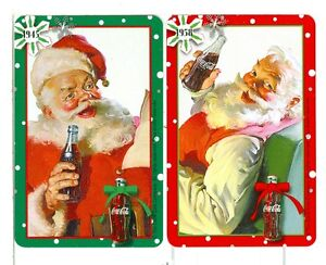 Two-Single-Playing-Cards-Coca-Cola-Santa-pair-images-from-1945-58