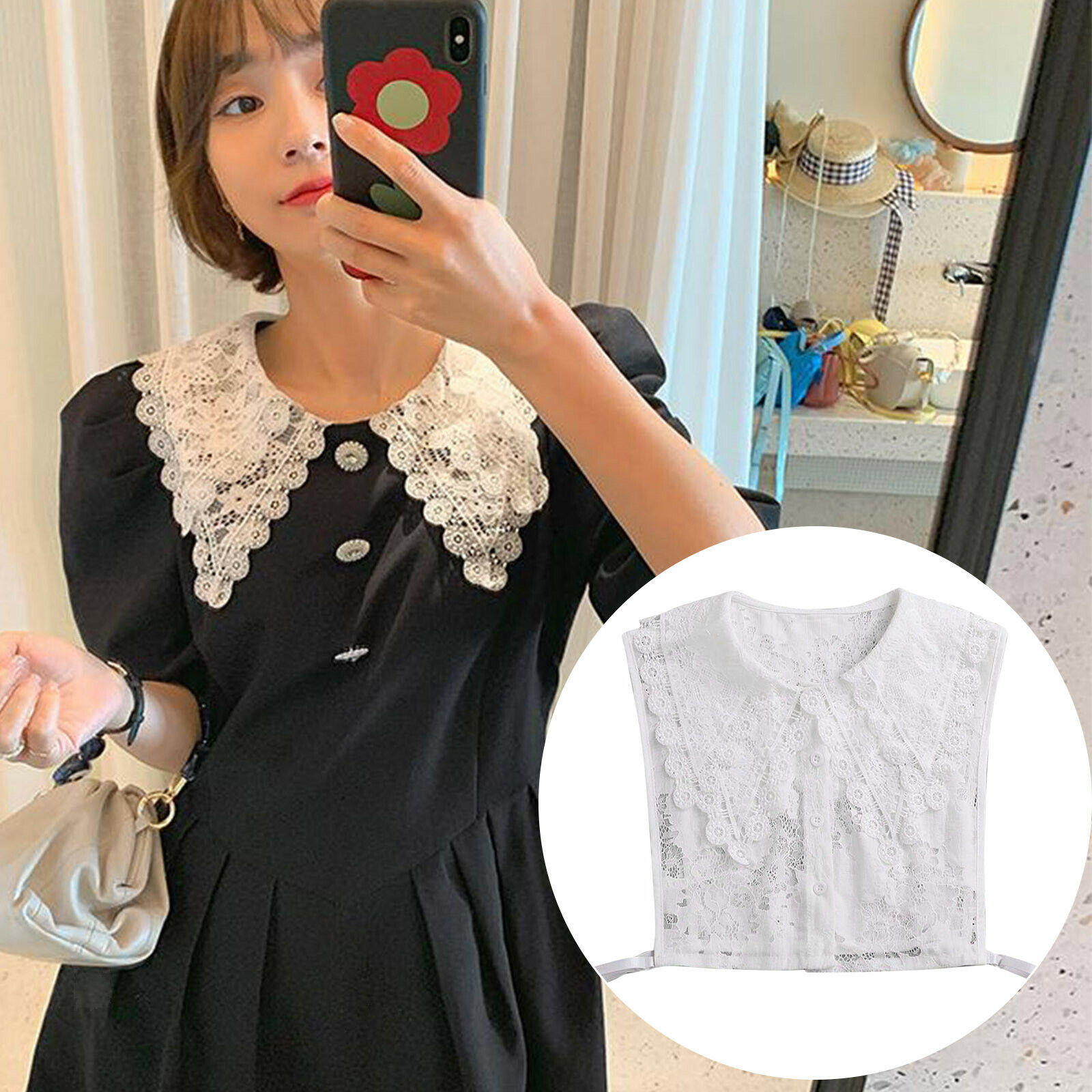 Ladies embroidery lace fake collar necklace detachable half shirt blouse