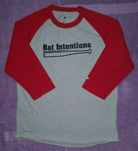 Details about Adidas Men's 34 Sleeve Raglan Baseball Graphic Tee Shirt XL Red Gray