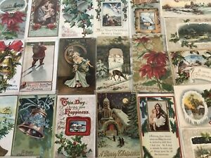 Lot-of-25-Vintage-1900-039-s-Christmas-Greetings-Postcards-Antique-in-Sleeves-m656