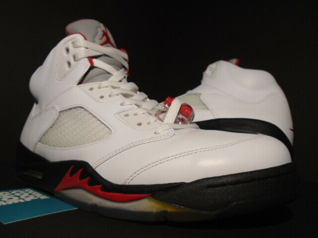 check out 7c3a9 cc77a Nike Air Jordan 5 Retro White Fire Red Black Sz 10.5 136027 100 for sale  online   eBay