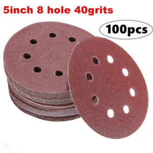 100pcs-40grits-Sanding-Discs-Dustless-Hook-and-Loop-Sander-Paper-5-Inch-8-Hole